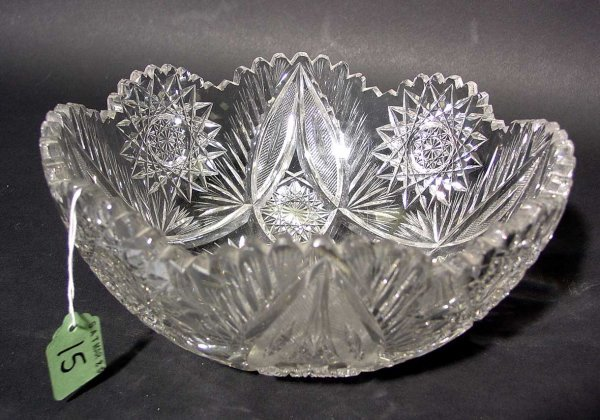 15: AMERICAN BRILLIANT PERIOD CUT GLASS BOWL, late 19th