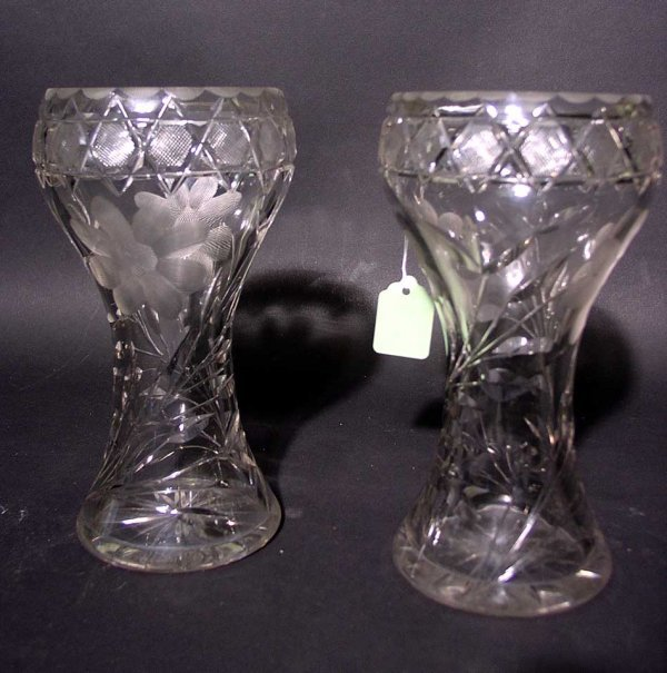 21: NEAR PAIR OF AMERICAN FLORAL PERIOD CUT GLASS CYLIN