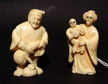 22B PAIR OF JAPANESE CARVED IVORY NETSUKES OF A COUPLE