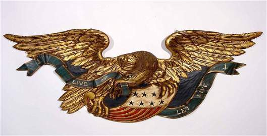 132: WELL-CARVED AND DECORATED EAGLE FIGURED HERALDIC W