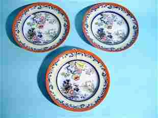 LOT OF THREE HANDPAINTED FLOW BLUE PLATES, mid-19t