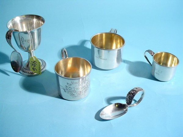 406: LOT Of SIX STERLING BABY ITEMS, inscribed, three s