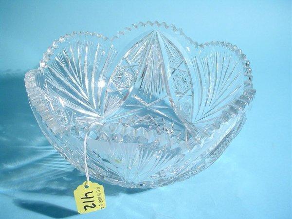 412: AMERICAN BRILLIANT PERIOD CUT GLASS BOWL, late 19t