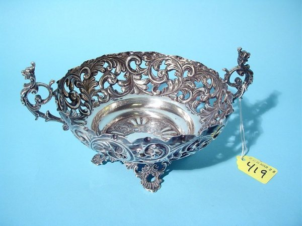 419: ENGLISH STERLING SILVER TWO-HANDLE EMBOSSED, CHASE