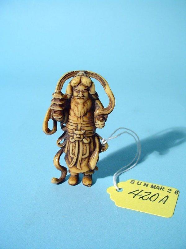 420A: MINIATURE JAPANESE CARVED IVORY FIGURINE OF BISHA