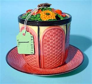 MAJOLICA FLORAL AND BEE DECORATED HONEY POT, mid 20t