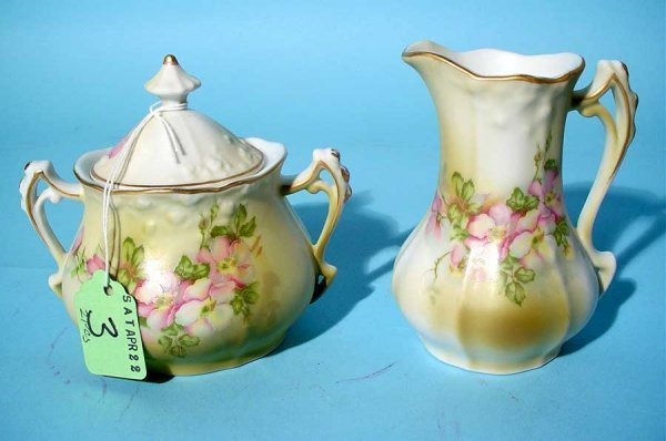 3: TWO-PIECE COVERED SUGAR AND CREAMER SET, 20th
