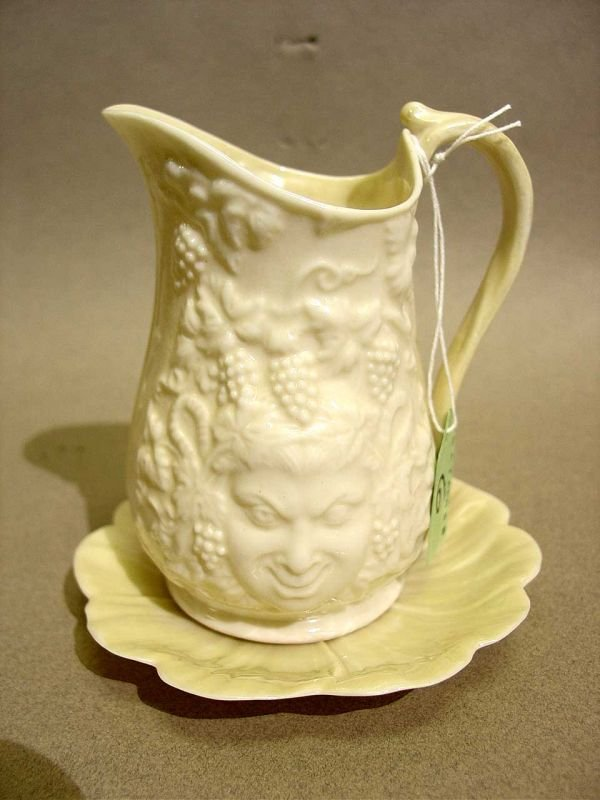 6: LOT OF A BELLEEK ''BACCHUS'' PARIAN WARE PITCHER WIT