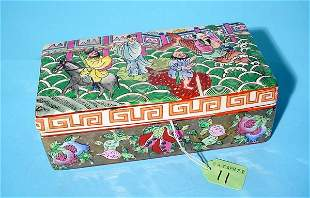 ORIENTAL DECORATED PORCELAIN RECTANGULAR COVERED BO