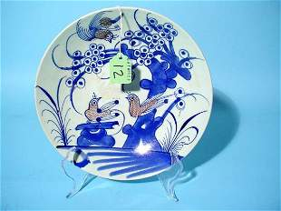 CHINESE BLUE AND WHITE FLORAL AND BIRD DECORATED PO