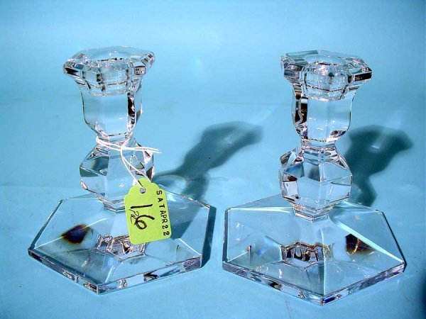 16: PAIR OF VAL ST. LAMBERT CRYSTAL CANDLESTICKS, with