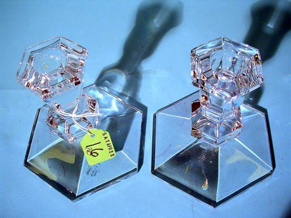 16: PAIR OF VAL ST. LAMBERT CRYSTAL CANDLESTICKS, with  - 2