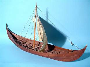 HAND-CRAFTED SCALE MODEL OF A VIKING SKIB, with sai