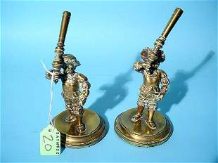 PAIR OF POLISHED BRONZE FIGURAL PEN HOLDERS, circa