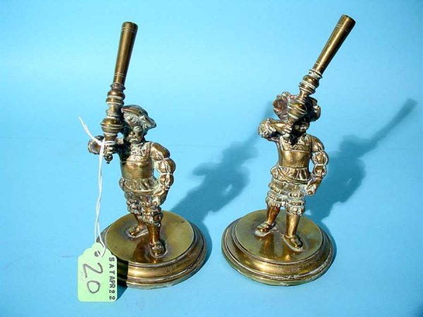 20: PAIR OF POLISHED BRONZE FIGURAL PEN HOLDERS, circa