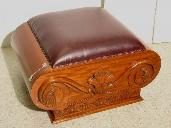 290: CUSTOM MADE CARVED MAHOGANY AND LEATHER UPHOLSTERE