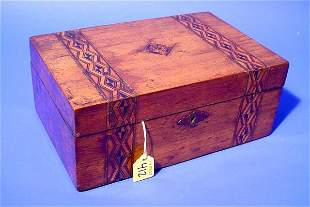 DECORATED INLAID WOODEN BOX, having a hinged lid w
