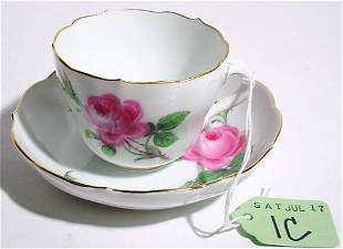 MEISSEN DECORATED PORCELAIN CUP AND SAUCER