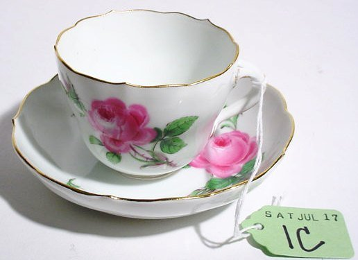 1C: MEISSEN DECORATED PORCELAIN CUP AND SAUCER