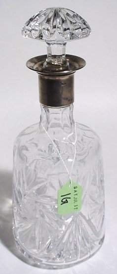 MOULDED ETCHED GLASS AND SILVERPLATED DECANTER