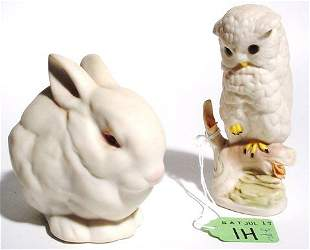 LOT OF TWO CYBIS DECORATED PORCELAIN ANIMALS,