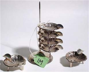 STACKED SET OF SIX STERLING SILVER SHELL FORM SMALL