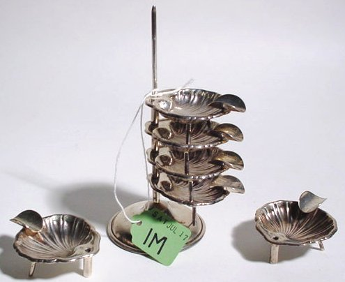 1M: STACKED SET OF SIX STERLING SILVER SHELL FORM SMALL