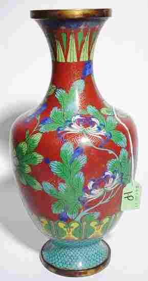CHINESE CLOISONNE FLORAL DECORATED VASE,