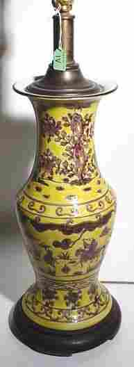 ORIENTAL DECORATED AND GLAZED CERAMIC BALUSTER FORM