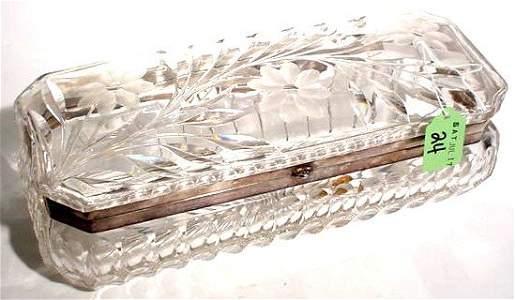 24: AMERICAN FLORAL PERIOD CUT GLASS RECTANGULAR HINGED