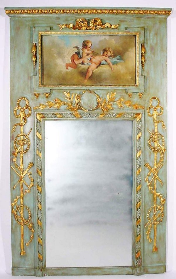 225: LOUIS PHILIPPE CARVED, GILDED AND DECORATED TRUMEA