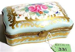 331: LIMOGES FLORAL DECORATED RECTANGULAR COVERED BOX