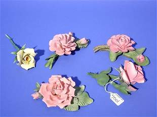 LOT OF FIVE CAPODIMONTE PORCELAIN FLOWERS, having
