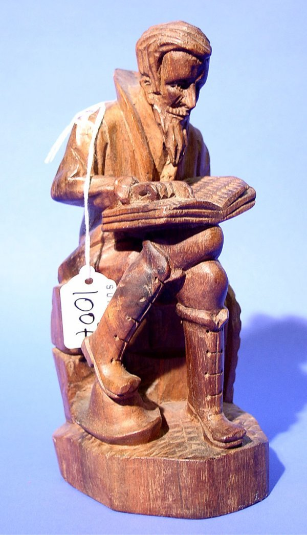1007: CARVED AND STAINED WOODEN SCULPTURE OF A SCHOLAR,