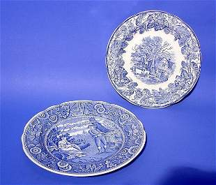 LOT OF TWO SPODE BLUE AND WHITE DECORATED CIRCULA