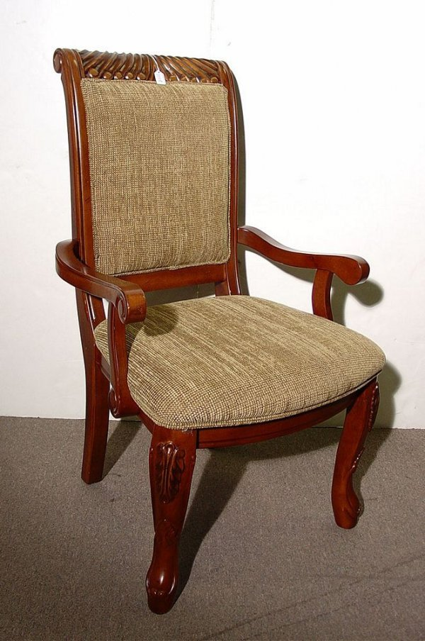 1018: TRANSITION STYLE CARVED AND UPHOLSTERED MAHOGANY