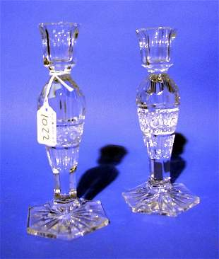 PAIR OF CUT AND MOULDED CRYSTAL CANDLEHOLDERS, of