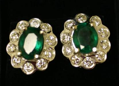 1198: PAIR OF 14 KT. WHITE GOLD, DIAMOND AND EMERALD EA