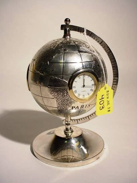 403: ETCHED SILVERPLATED GLOBE DESIGN DESK CLOCK