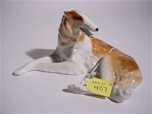 GOOD RUSSIAN PORCELAIN FIGURE OF A WOLFHOUND