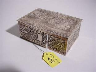 FRENCH SILVERPLATED HAND-CHASED BOX