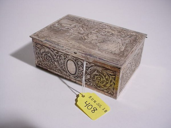 408: FRENCH SILVERPLATED HAND-CHASED BOX
