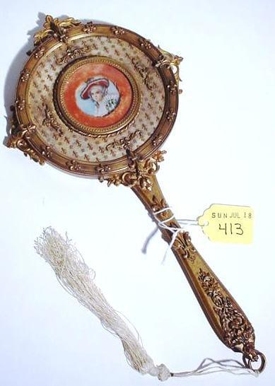 413: GILT BRONZE HAND MIRROR WITH IVORY MINIATURE PORTR