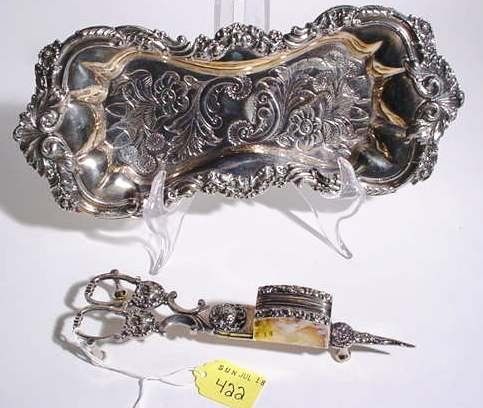 422: GEORGE III STYLE SILVERPLATED SCISSOR-FORM CANDLE