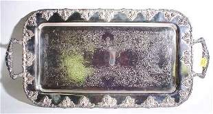 SILVERPLATED RECTANGULAR FOOTED SERVING TRAY