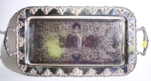 424: SILVERPLATED RECTANGULAR FOOTED SERVING TRAY