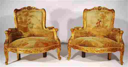 527: FINE AND RARE PAIR OF LOUIS XV STYLE CARVED AND GI