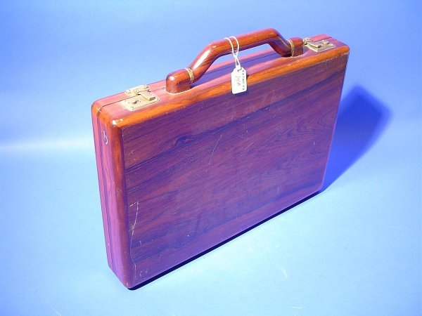 14B: WELL-CRAFTED SOLID ROSEWOOD BRIEFCASE, having a le