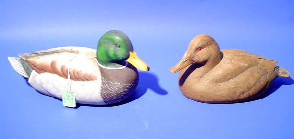 9B: PAIR OF CARVED WOODEN DECOYS OF A MALLARD DRAKE AND