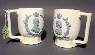 PAIR OF WEDGWOOD ETRURIA CUPS COMMEMORATING THE CO